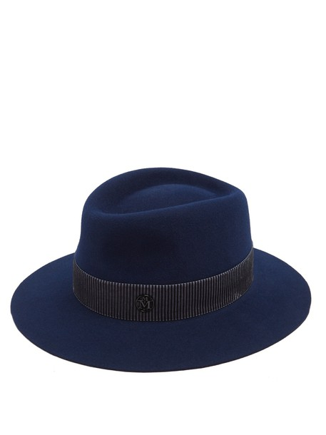 Maison Michel fur hat felt hat navy
