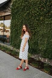 dress,polka dots,midi dress,mid heel sandals,off the shoulder,off the shoulder dress,bracelets