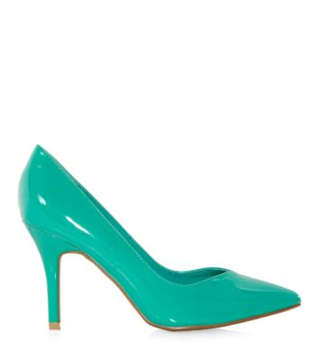 Turquoise Patent Pointed Court Shoes