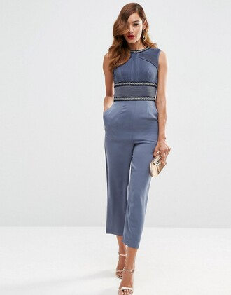 jumpsuit asos clothes blue jumpsuit party