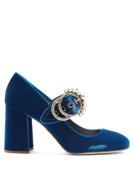 Miu Miu heel embellished pumps velvet blue shoes