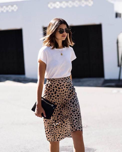 skirt animal print midi skirt silk white t-shirt clutch chain necklace aviator sunglasses