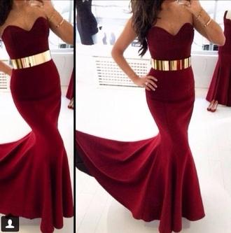 dress burgundy red red dress maxi dress long evening dress evening dress wedding dress sexy dress belt metal gold waist belt gold belt sexy red dress prom dress redvelvet stylish