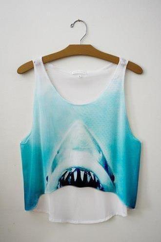 shirt tank top blue shark animal face print