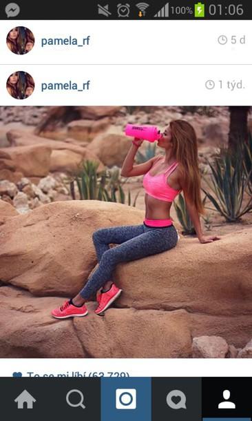 leggings sportswear sports leggings sports shoes nike pamela_rf pink pink leggings