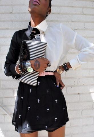blouse monochrome monochrome shirt black white black and white black and white blouse buttons t-shirt female