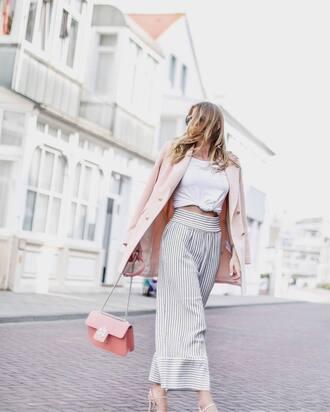 jacket top white top tumblr blazer pink blazer pants palazzo pants stripes striped pants wide-leg pants bag