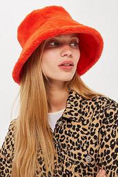 fur,faux fur,hat,bucket hat,orange