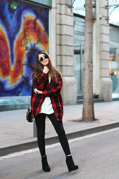 dulceida blogger flannel shirt wedges black jeans jacket shirt pants shoes bag jewels