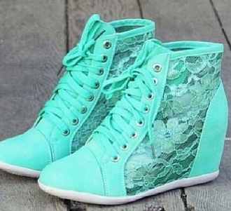 shoes teal lace flowers