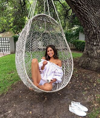 blouse top olivia culpo off the shoulder off the shoulder top shorts instagram summer outfits