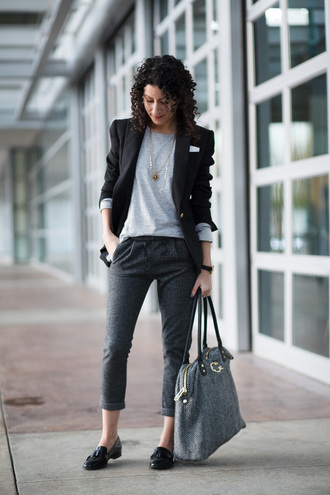 alterations needed blogger grey pants black blazer coach grey bag streetwear