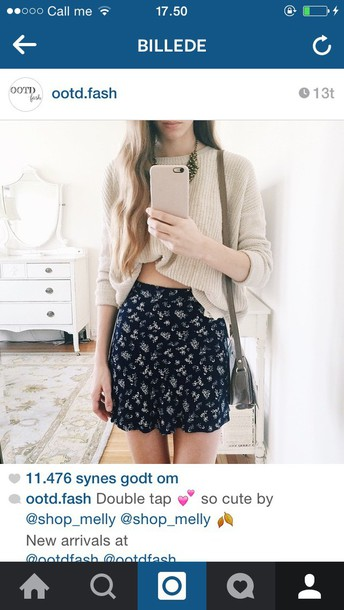 shirt black skirt blue skirt floral skirt cute skirt