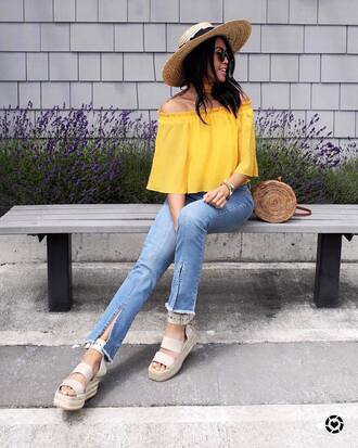 top tumblr off the shoulder yellow yellow top denim jeans blue jeans sandals sandal heels wedges wedge sandals bag shoes