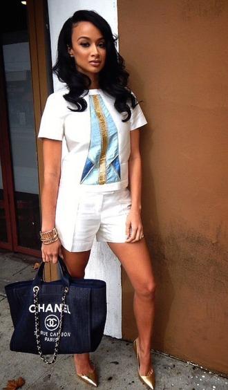 shorts top pumps draya michele shoes white black girls killin it baddies heels shirt