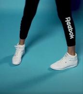 pants,Reebok,advertising,rae sremmurd,black pants,gym,gym clothes,shoes,gym leggings,black gym pants,reebok classic