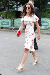 dress,floral,floral dress,midi dress,sandals,summer outfits,summer dress,pippa middleton