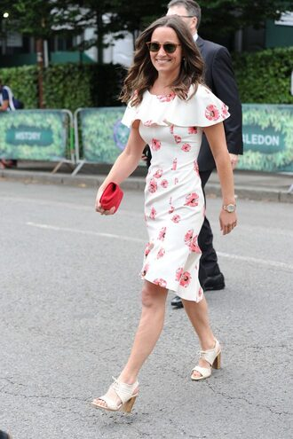 dress floral floral dress midi dress sandals summer outfits summer dress pippa middleton