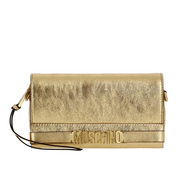 Moschino women couture bag clutch shoulder bag gold