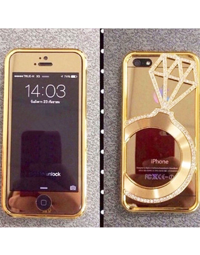 Diamond ring cover case transaprent bumper iphone 6 plus luxury trendy