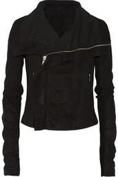 jacket,rick owens,black,black jacket,leather jacket,lambskin,tight,street goth,goth,goth hipster,health goth