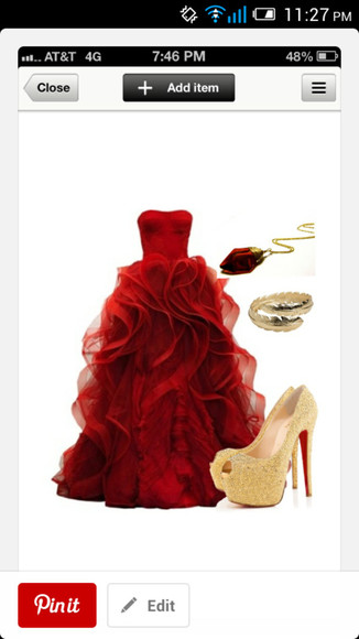 dress red dress shoes prom dress formal dress ball gown dresses jewels
