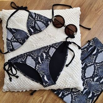 swimwear blue black grey white pattern snake skin snake print bikini bikini top bikini bottoms string bikini