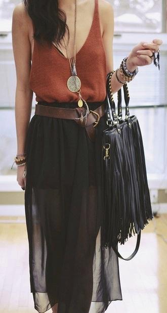 skirt black boho gypsy fringe