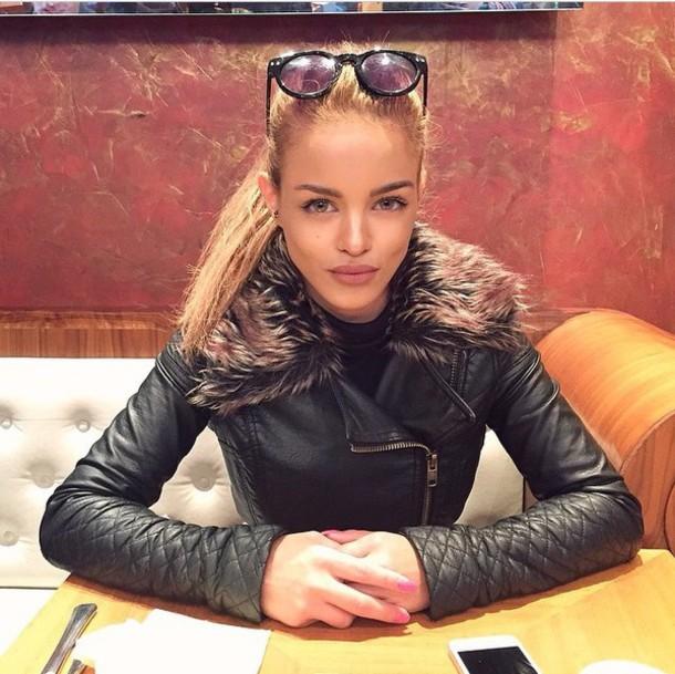 jacket fur leather jacket