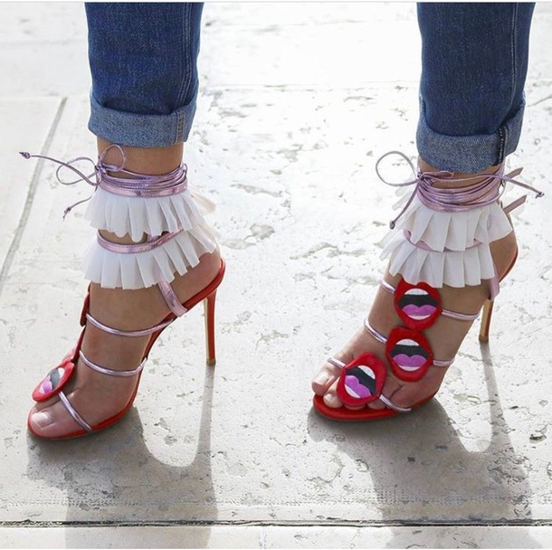 shoes heels pink red