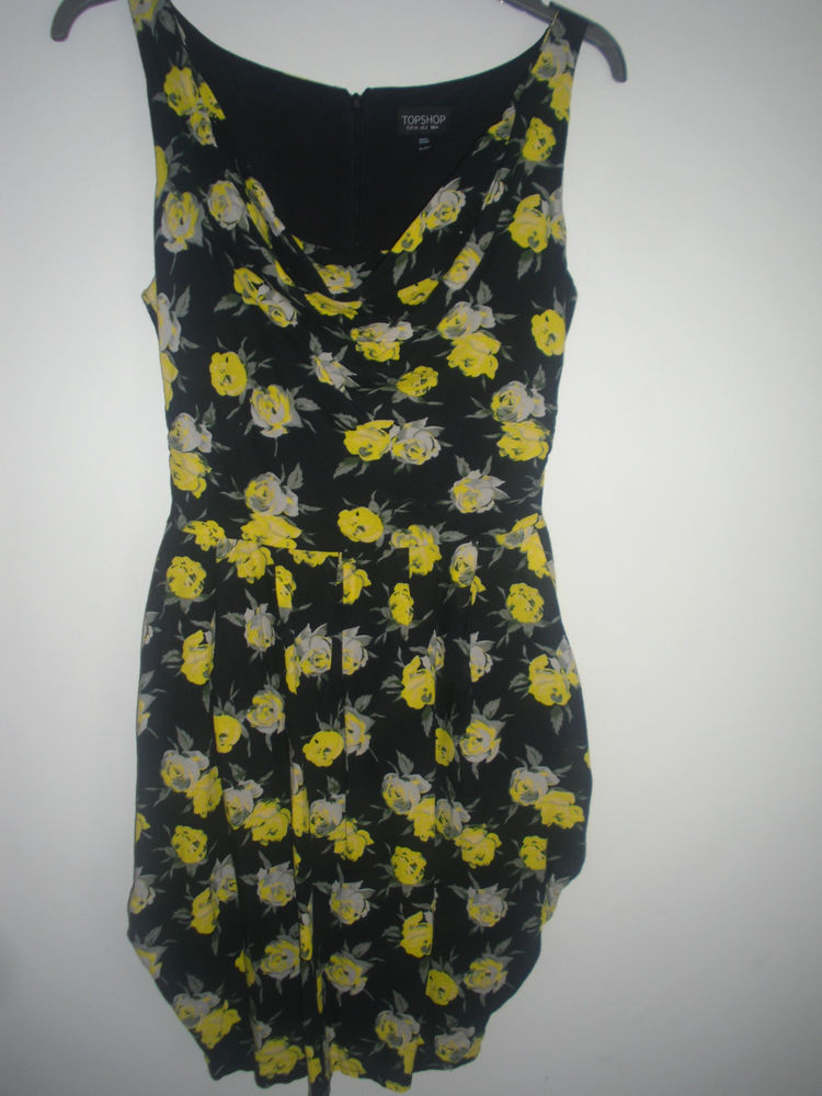 ~topshop yellow rose floral print dress size 6~