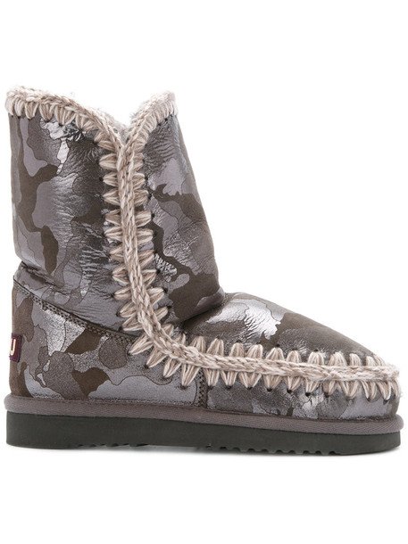 Mou wedge boots women wool grey shoes