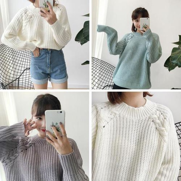 sweater korean sweater korean fashion korean fashion knotted sweater white green purple 한국어 패션
