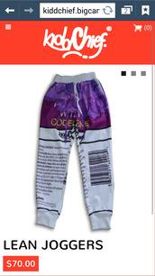 emoji pants,codeine design sweatpants,lean,kiddchief,kidd chief,pants