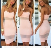 pink dress,pink,mesh,long,bodycon,sexy dress,dress,boutique,australian brand,sexy party dresses,girly dress,rose,clair,transparente,peach,cute,bodycon dress,criss cross
