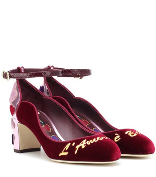 Dolce & Gabbana Velvet and leather pumps in red