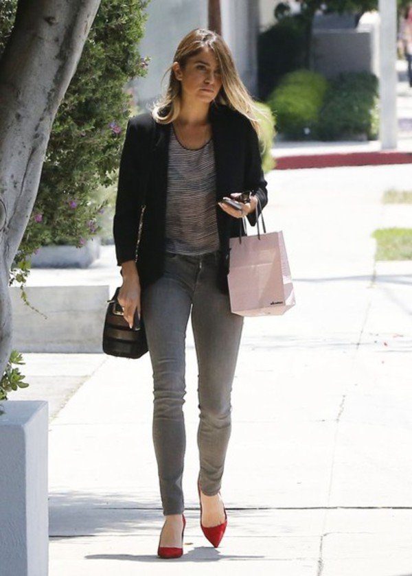 jacket nikki reed blazer shoes jeans bag
