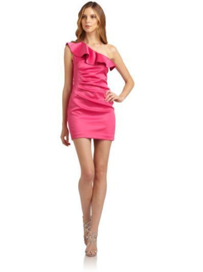 Laundry Shelli Segal One Shoulder Ruffled Satin Sheath Dress Pink 4 New $255 | eBay