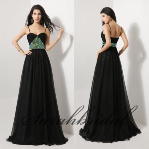 Black dress prom dress 2014 dress 2015 dress floor length dress straps