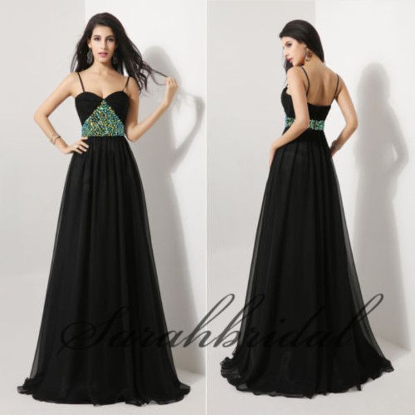 black dress prom dress 2014 dress 2015 dress floor length dress straps dress beaded dress prom dress dress