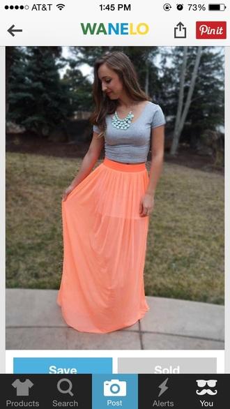 skirt orange skirt orange long skirt