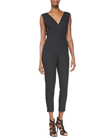 Neck cutout jumpsuit, black