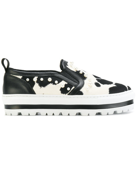 MSGM women sneakers leather white shoes
