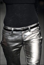 pants,silver,faux leather skinny pants