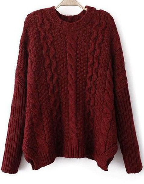 Sweater: burgundy sweater, cable knit, chunky cable knit sweater ...