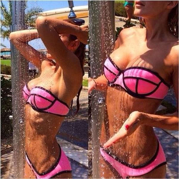 swimwear neon neon bikini neon swimsuit neon pink