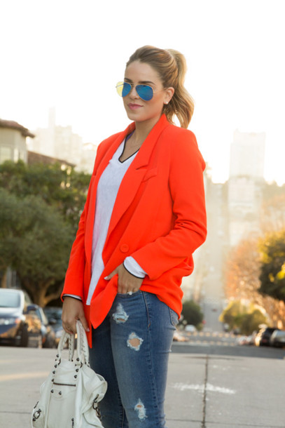 gal meets glam jacket sweater jeans shoes bag sunglasses