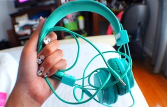earphones teal headphones