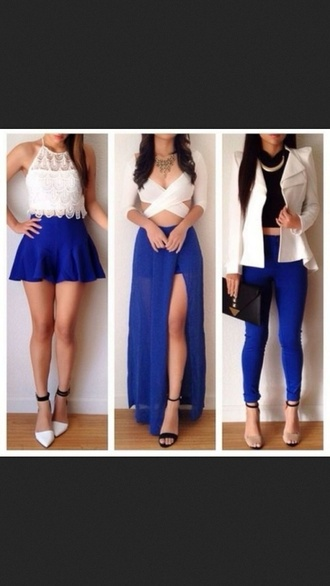 dress pants shoes jacket shirt tumblr blue skirt blue pants white black jewelry necklace heels fashion cute sexy instagram skirt white t-shirt