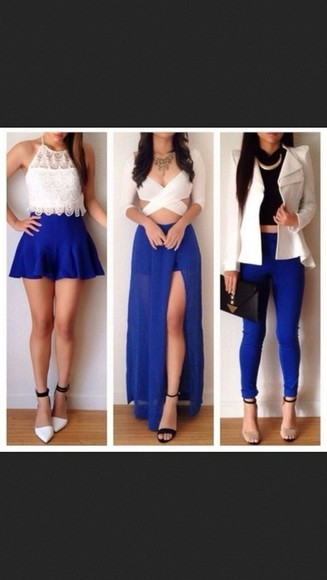 white t-shirt blue skirt skirt dress pants white tumblr shirt jacket blue pants black jewelry necklace high heels fashion cute sexy instagram